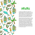 Hand drawn surfing and diving decoration. Hawaii holiday. Tourism vector background. Banner or poster Royalty Free Stock Photo