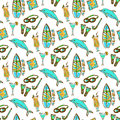 Hand drawn surfing and diving seamless pattern. Hawaii pattern with dolphin, cocktail and surf board. Tourism vector background.
