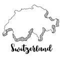 Hand drawn of Switzerland map, illustration