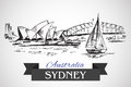 Hand drawn Sydney Opera House and Sydney Harbour Bridge Royalty Free Stock Photo