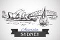 Hand drawn Sydney Opera House and Sydney Harbour Bridge Royalty Free Stock Photo