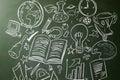 Hand drawn symbols of school subjects on a chalkboard