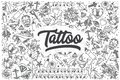 Hand drawn tattoo vector doodle set. Royalty Free Stock Photo