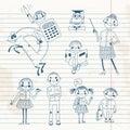 Hand drawn teacher and schoolchildren. Royalty Free Stock Photo