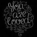 Hand drawn text lettering you are loved vector illustration Stock Images