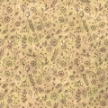 Hand drawn textured floral background.Vintage beige template with little flowers and leaves. Crumpled paper pattern. Royalty Free Stock Photo