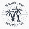 Hand drawn textured grunge vintage label, retro badge or T-shirt typography design with Palm tree and surfboards vector illustrati Royalty Free Stock Photo