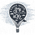Hand drawn textured vintage label with hot air balloon vector illustration.