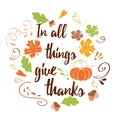Hand drawn thanksgiving card with pumpkin maple leaves text Family Blessing Royalty Free Stock Photo