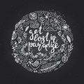 Hand drawn themed phrases. Modern style lettering. Get lost in paradise.