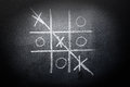 Hand drawn tic tac toe game on blackboard Royalty Free Stock Photo