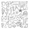 Hand drawn tools for farming and gardening. Doodle of nature environment