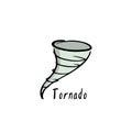 Hand drawn tornado sign