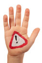 Hand with the drawn traffic sign warning of dangers isolated on a white Stock Image