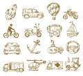 Hand drawn transport vector icons set on white Stock Image