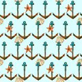 Hand drawn travel seamless pattern with anchor, sea shell, sea star