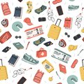 Hand drawn travel seamless pattern. Summer vacation time doodle background.