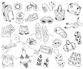 Hand drawn travel, vacation, travel, beach doodle Icons collection on white back Royalty Free Stock Photo