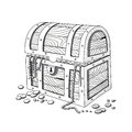 Hand drawn treasure chest illustration of a Stock Images