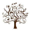 Hand drawn tree with curly twigs with musical notes and signs Royalty Free Stock Photo
