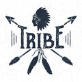 Hand drawn tribal label with headdress and arrows vector illustration. Royalty Free Stock Photo