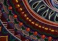 Hand-drawn tribal paysley pattern, mandala style. Black and bright colors