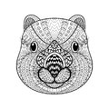 Hand Drawn Tribal Wombat Face,...