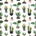 Hand drawn tropical house plants. Scandinavian style illustration, vector seamless pattern for fabric, wallpaper or wrap paper. Royalty Free Stock Photo