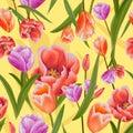 Hand drawn tulips textured background