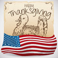 Hand Drawn Turkey in Scroll and American Flag for Thanksgiving, Vector Illustration