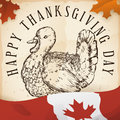 Hand Drawn Turkey in Scroll and Canadian Flag for Thanksgiving, Vector Illustration