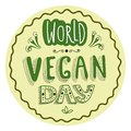 Hand drawn typographical sticker for World Vegan Day.