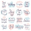 Hand drawn typography save the date quote text logo badge design wedding greeting cards or invitations illustration