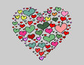 Hand-drawn Valentine's Day love colorful heart Stock Photo