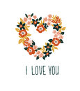 Hand drawn valentine card with floral heart and lettering - `I love you`. Vector floral frame design. Royalty Free Stock Photo