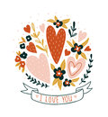 Hand drawn valentine card with flowers and lettering - `I love you`. Vector floral print design. Royalty Free Stock Photo
