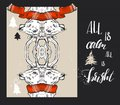 Merry Christmas greeting card set with cute xmas tree, santa and deer retro designs. Includes holiday themed seamless Royalty Free Stock Photo