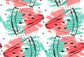 Hand drawn vector abstract collage seamless pattern with watermelon fruit isolated on white background.Unusual Royalty Free Stock Photo
