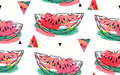 Hand drawn vector abstract collage seamless pattern with watermelon motif and triangle hipster shapes isolated on white Royalty Free Stock Photo