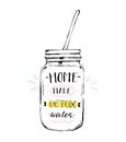 Hand drawn vector abstract creative detox water sign with glass jar and handwritten modern calligraphy quote Home made