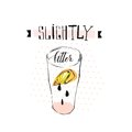 Hand drawn vector abstract creative funny lemonade illustration with glass beaker,lemon slise,drops and handwritten ink