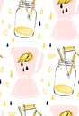 Hand drawn vector abstract creative funny summer time seamless pattern with lemonade glass jar,lemon slise,juice drops