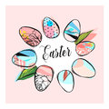 Hand drawn vector abstract creative texture Easter concept graphic trendy composition with Easter eggs wreath frame in