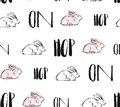 Hand drawn vector abstract creative universal Easter seamless pattern design with white rabbits and hop on quote in