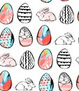 Hand drawn vector abstract creative universal Happy Easter seamless pattern design with Easter eggs and bunnies in