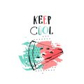 Hand drawn vector abstract creative unusual summer time funny illustration with watermelon slice,freehand textures and
