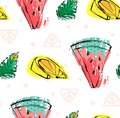Hand drawn vector abstract cute funny summer time fruits seamless pattern with watermelon,lemon,mint leaves and freehand