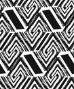 Hand drawn vector abstract freehand textured seamless pattern collage with zebra motif,organic textures,triangles