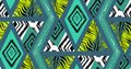 Hand drawn vector abstract freehand textured seamless tropical pattern collage with zebra motif,organic textures