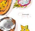 Hand drawn vector abstract freehand textured unusual background with exotic tropical fruits papaya,dragon fruit,coconut